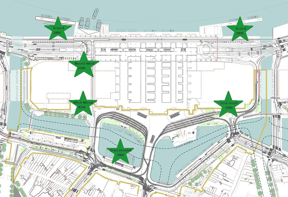De sterren geven de plekken aan waar in de toekomst de fietsparkeerplekken bij CS gaan komen