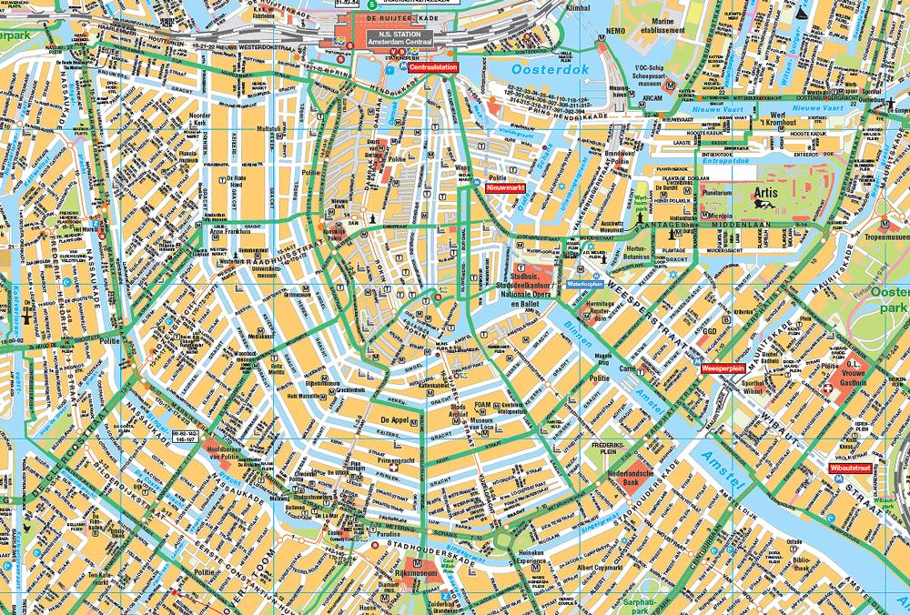 Voorbeeld: de grachtengordel met fietsroutes