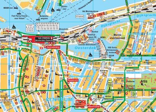 uitsnede uit Fietskaart Amsterdam