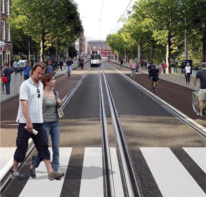 De Marnixstraat tussen Rozengracht en Leidseplein als Groene Loper - volgens een artist impression van GroenLinks